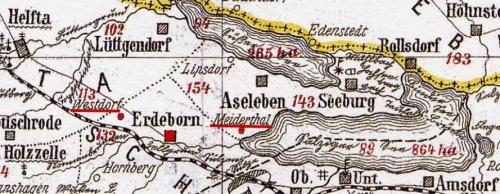 Karte mit Erdeborn und den Wüsten Dörfern Westdorf und Meiderthal